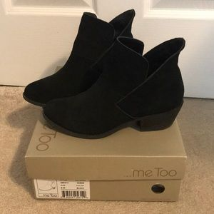 Me too black suede low bootie